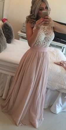 Chiffon Pearls Pink Long Prom Dresses 2016 Crew Neck Lace Long Evening Gowns…