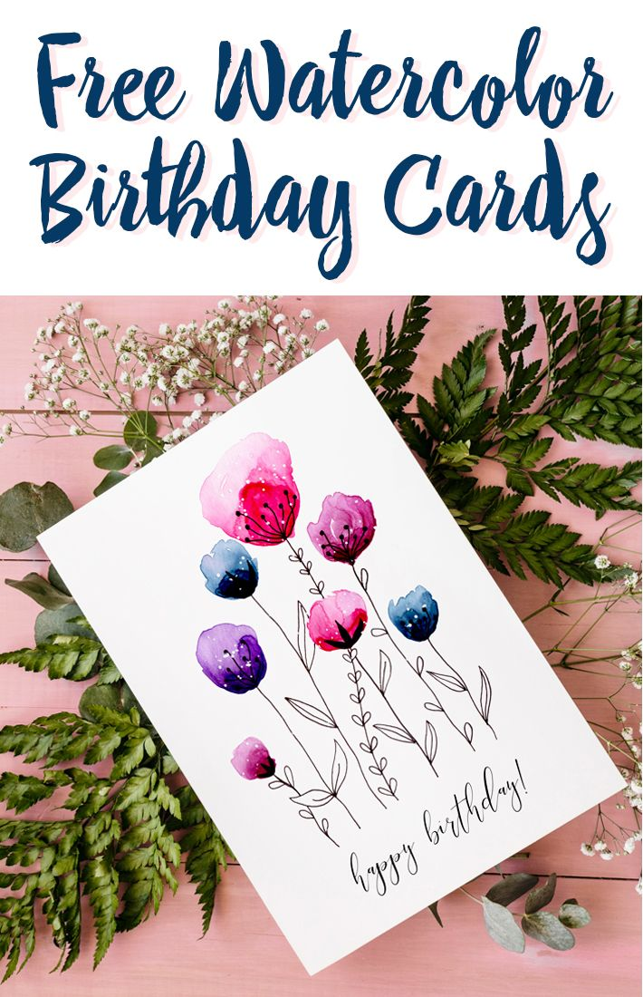 Download Two Free Printable Watercolor Birthday Cards Hand Painted By Fox Hazel Freecard Printablecard Birthdaycard Freedownload Freeprintable