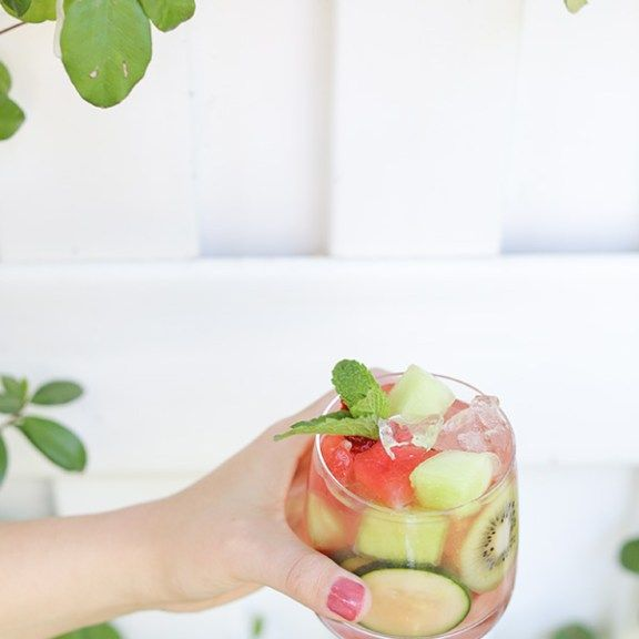 Print Watermelon & Honeydew Sangria Recipe Author: Eden Passante Prep time:  30 mins Total time:  30 mins Serves: 2 gallons   Measurements Ingredients 12 cupswatermelon, cubed 5 cupshoneydew, cubed 15 strawberriessliced 1 lemonsliced 2 limessliced 1 cucumbersliced 1 bottledry white wine 1 cupgin or vodka 1/2 cuporange liqueur 4 cupsginger ale Handfulmint leaves Directions Chop and slice …