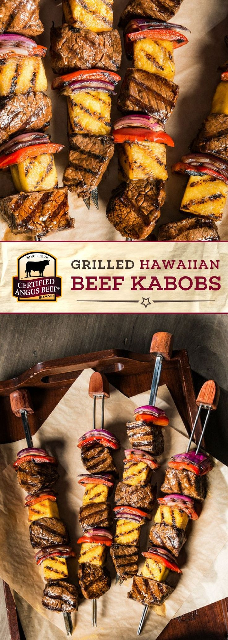 Make these Grilled Hawaiian Beef Kabobs with Certified Angus Beef®️ brand top sirloin steak, and you'll be hooked! This easy recipe uses the BEST top sirloin steak, cubed and marinated in a TASTY blend of orange juice concentrate, soy sauce, molasses, vinegar and ginger. Skewered with onion, red pepper, and pineapple, this delicious beef recipe is perfect for the grill! #bestangusbeef #certifiedangusbeef #beefrecipe #beefkabob #grilling