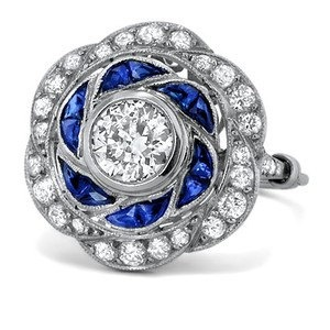 Art Deco - Platinum, Diamond and Sapphire Engagement Ring 2 ct.tw. - The Rey Ring. $8,975.00, via Etsy.