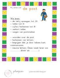 Poster met taal- en rekendoelen  thema post
