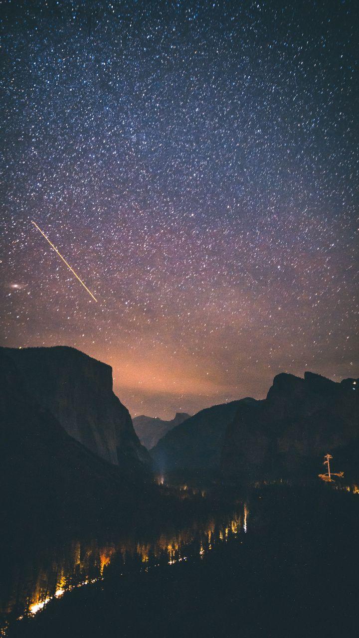 Night Yosemite Valley Valley Starry Night Forest Wallpaper