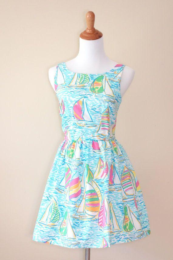Lilly Pulitzer You Gotta Regatta Fit & Flare Dress Size: small Price: $118