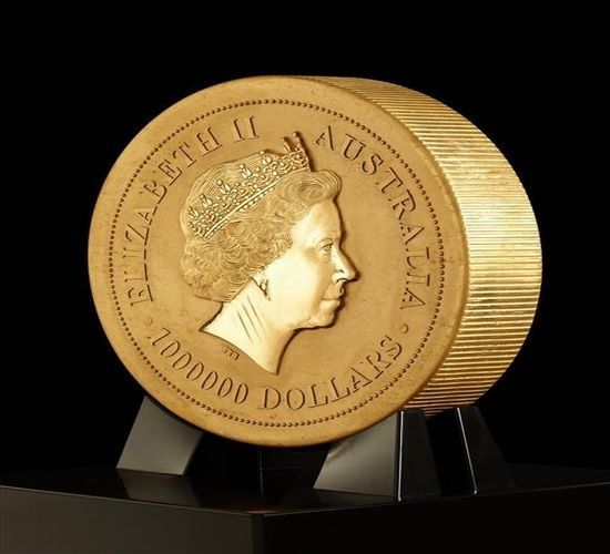 The largest gold coin in the world was unveiled by the Perth Mint, Australia. The record coin sports a profile of the Australian kangaroo on one side and Queen Elizabeth II on the other; measuring 80 centimeters wide and more than 12 centimeters deep, the stunning coin weighs over a ton and cost $57.34 million according to the current price of gold.