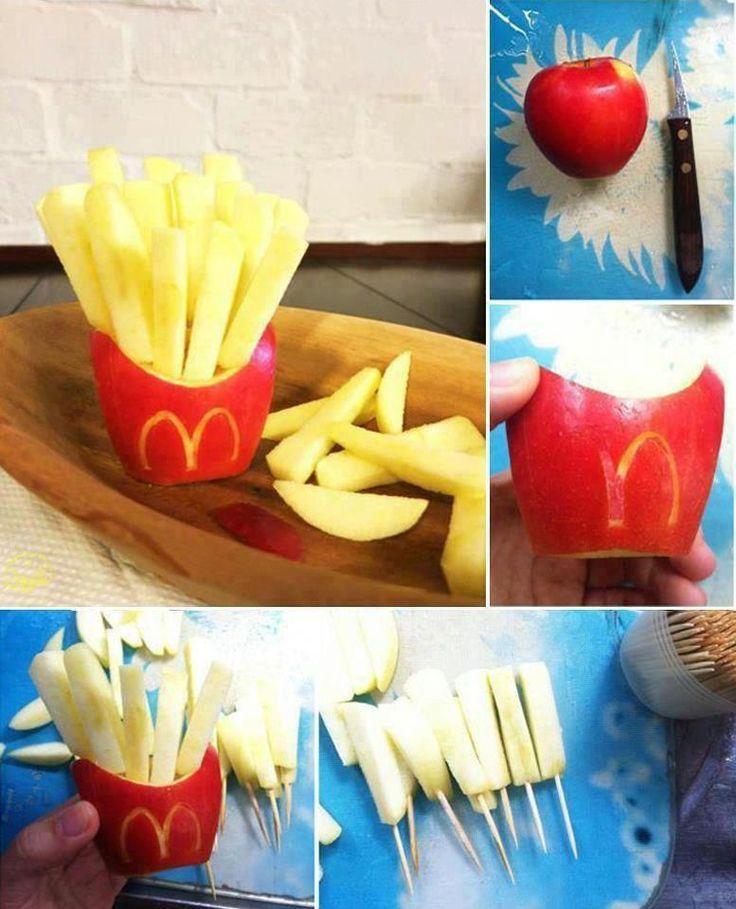 Receta con manzana roja. Convierte una manzana en una divertida bolsa de patatas fritas. Idea original para que los niños coman fruta