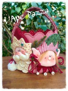 Cartamodelli Babbi Natale ed Elfi 2014 : Cartamodello portapanettone babbo Mirtillo elfo Pistillo