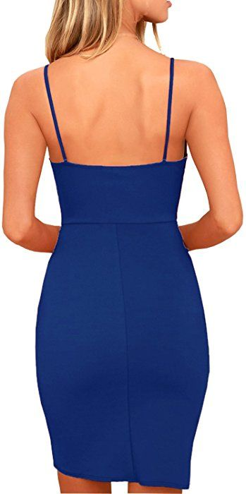 cf0a530b56ef5 Zalalus Women's Bodycon Cocktail Party Dresses Deep V Neck Backless  Spaghetti Straps Sexy Summer Short Casual Club Dress Above Knee Length  Sleeveless Royal ...