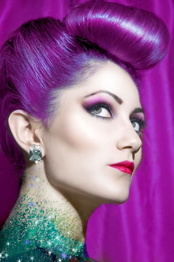 So wonderfully beautiful!Bumper Bangs, Pompadour, Bright Purple Hair, Hair Colors, Makeup, Beautiful, Girls Hairstyles, Hair Style, Retro Hairstyles