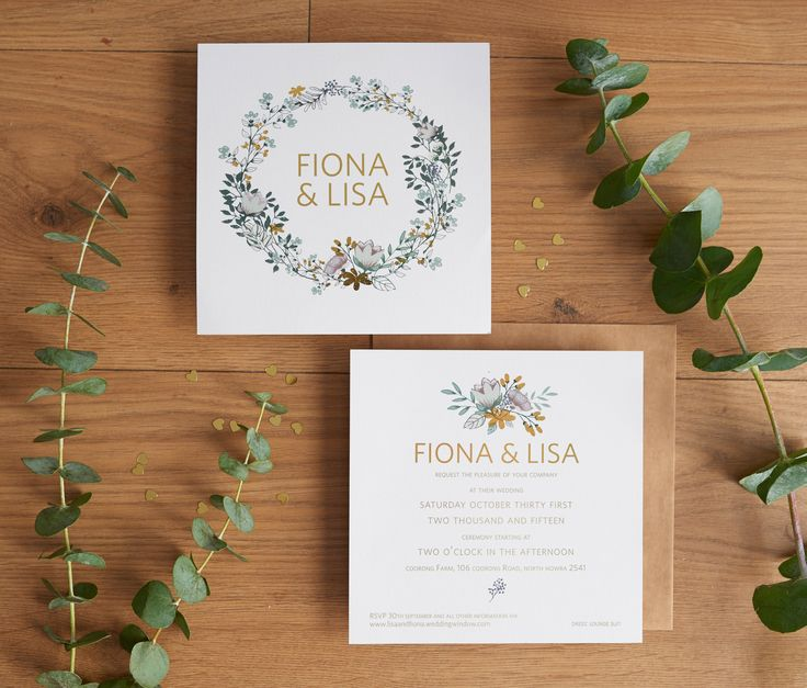 Green and gold wedding invitations. Country, flowers