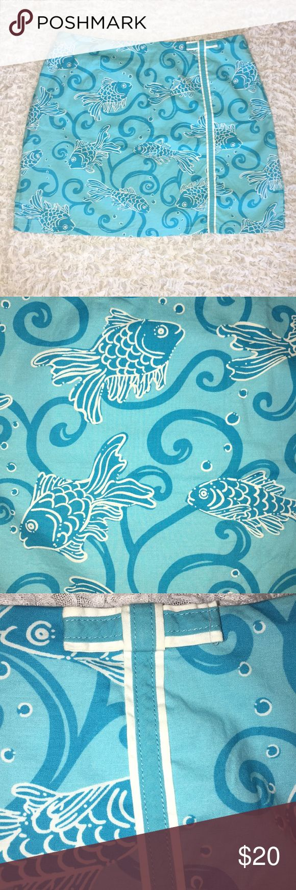 Lilly Pulitzer Lenore Skort - Blue Koi Great for summer! This pattern is to die for, bright and fun!  Lenore Skort from Lilly Pulitzer Perfect condition - no tag  97% cotton, 3% spandex   Machine wash cold  No bleach Tumble dry low or hang to dry. Lilly Pulitzer Skirts Mini
