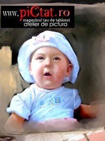 Tablouri pictate: Portret Fetita cu palarioara alba portrete pictate in ulei pe panza dupa fotografie Pictura Portet Copii Pictura la comanda