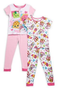 AME Sleepwear Little Girl's & Girl's Shopkins Four-Piece Printed Pajama Set