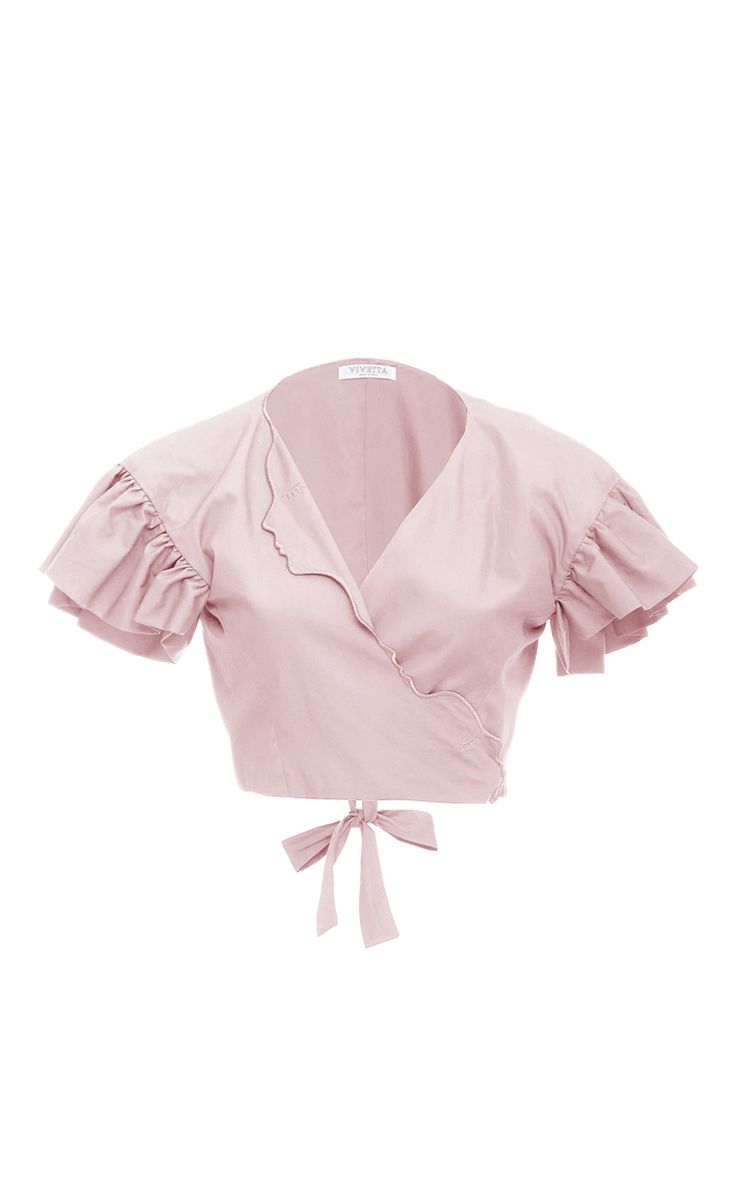 Ruffle Sleeve Cropped Blouse by VIVETTA Now Available on Moda Operandi