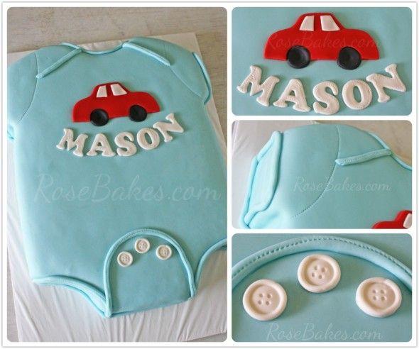 Baby Onesie Baby Shower Cake   http://rosebakes.com/baby-onesie-baby-shower-cake/