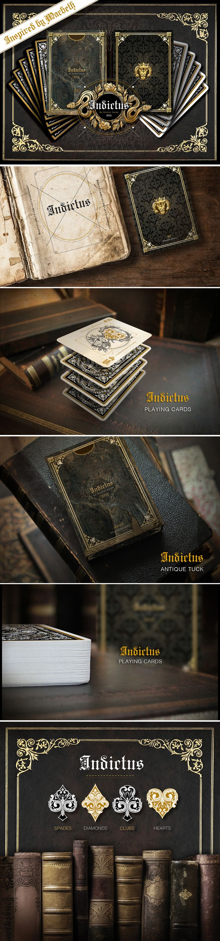 Indictus by Nicolai Aarøe - 2 embossed, gold foiled, metallic back inked, limited edition, deluxe decks of dark philosophy, and mysticism. Inspired by the Macbeth. Learn more: https://www.kickstarter.com/projects/nicolaiaaroe/indictus-playing-cards