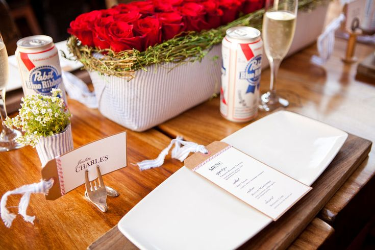 How amazing are these bent fork name card holders!? Photograph by Siegel Thurston Photography http://www.storyboardwedding.com/4th-of-july-inspired-wedding-red-white-and-blue-done-to-perfection/