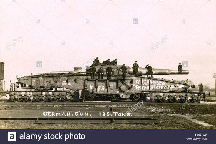 A Huge German Railway Gun Captured At The Battle Of Amiens On 8th Stock Photo, Royalty Free Image: 105389118 - Alamy