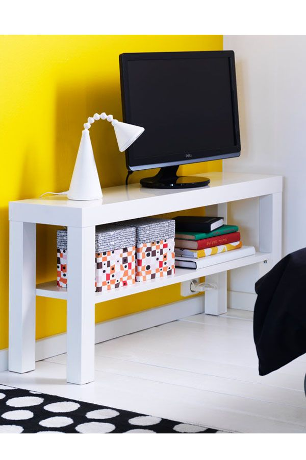 When space is limited, don't waste it on a big TV stand. The LACK TV unit is thin and provides a shelf for extra storage.