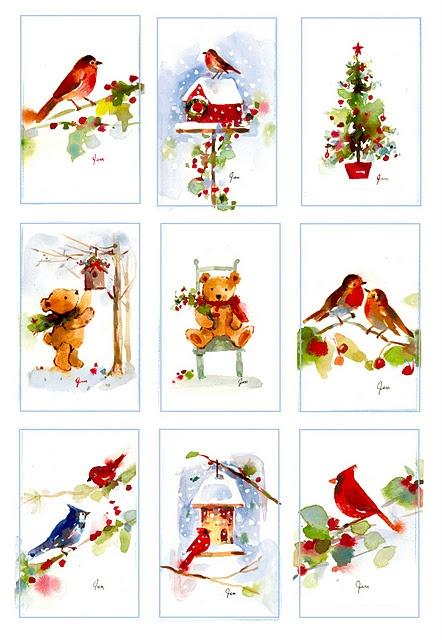 christmas watercolor miniatures