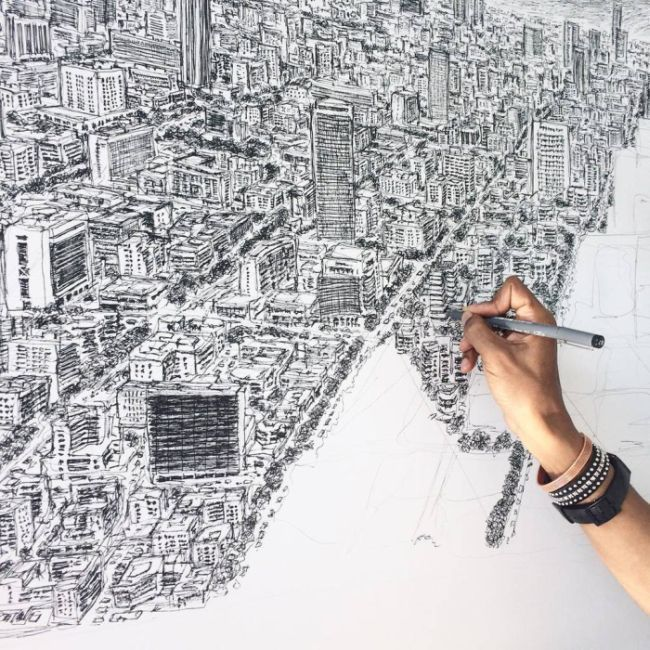 STRANGE ART TALENTS - AUTISTIC BRITISH ARTIST STEPHEN WILSHIRE DRAWS CITYSCAPE OF MEXICO CITY FROM MEMORY! WOW!
