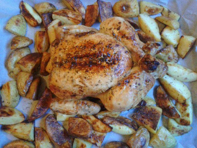 Pollo Arrosto al Sidro di Pere con Patate Pepate