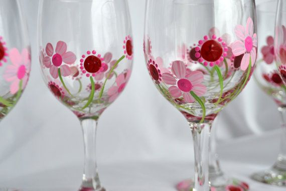 Hand Painted red and pink flower wine glasses by CatLea on Etsy