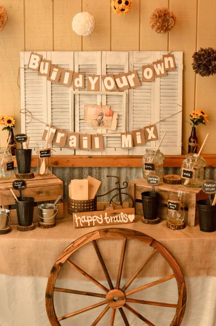 Woodsy wedding favors trail mix bar i do pinterest for Wedding bar ideas