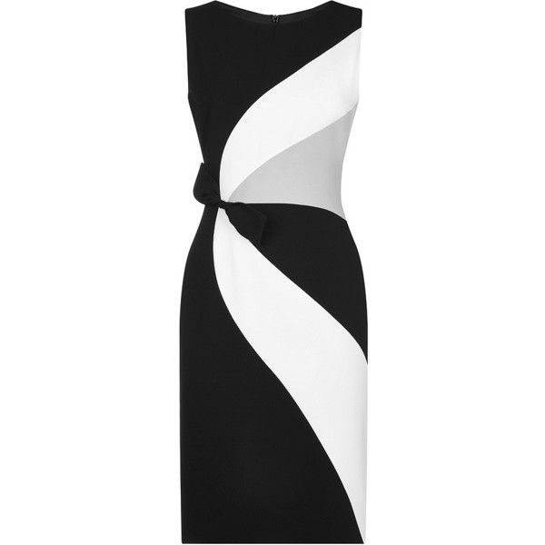 Paule Ka's Tricolour Swirl Crepe Dress offers a shortcut to Parisian elegance. Designed in satin-backed crepe, black, white and grey panels curve across the sl…