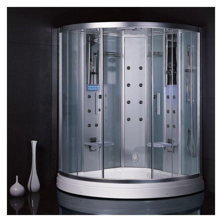 """Ariel DZ938F3 Platinum 90"""" Steam Shower Enclosure with Shower System White Steam Showers Steamroom Enclosures Shower System"""
