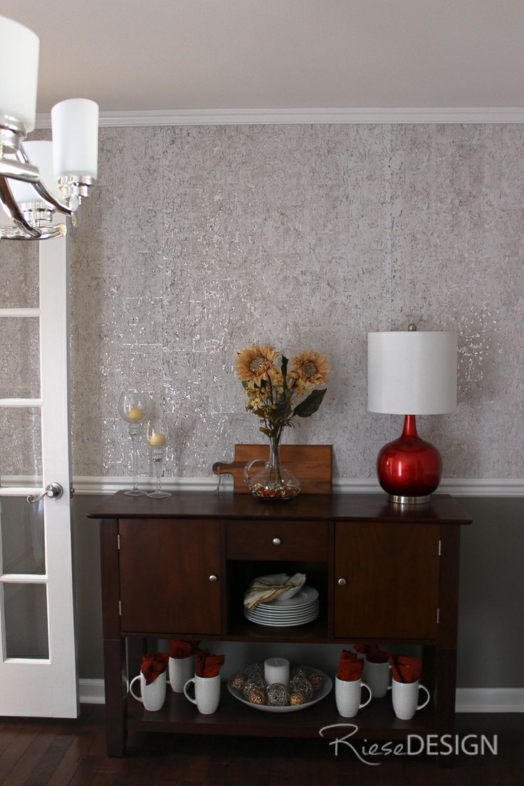 Candice Olson Cork Backed Textured Metallic Wallpaper Used On Top Half Of Chair Rail