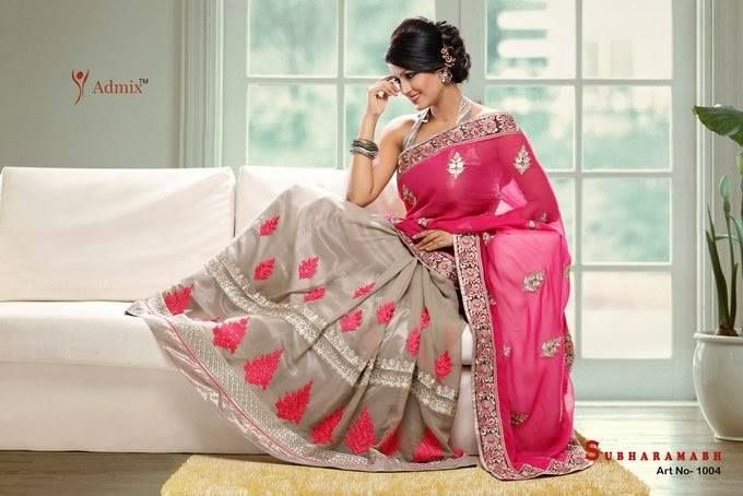 Georgett Grey Rani Saree with Thread Multi