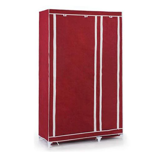 Foldable Double Canvas Wardrobe Storage Cupboard Shelves - Red wine
