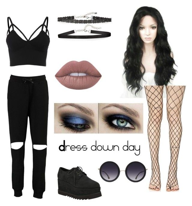 """""""Dress Down Day"""" by frankensynth ❤ liked on Polyvore featuring Boohoo, Chan Luu, Lime Crime, Alice + Olivia and Leg Avenue"""