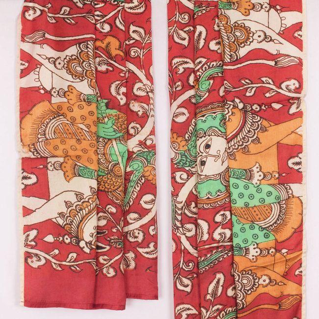 Hand Painted Red Kalamkari Satin Silk Dupatta With Floral Motifs 10017021 - AVISHYA.COM