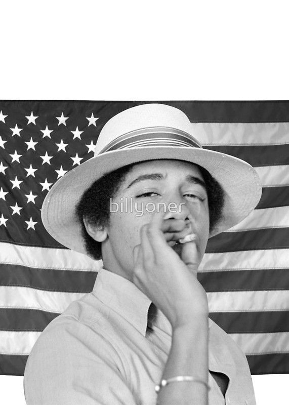 Young Obama smoking with American Flag