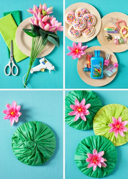 Lilypad favor How-To. Perfect for a party. Cut cardboard circles but still glue tissue paper and flower and use on the fence or on the cake table