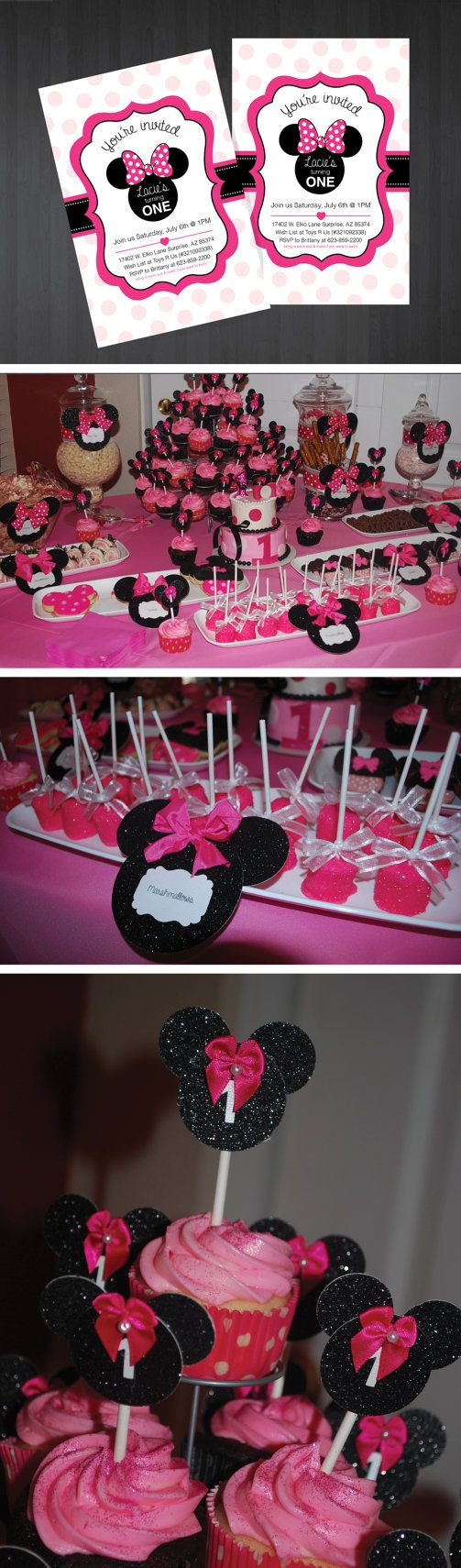 Custom Minnie Mouse Invitations $8  for 10 invitations