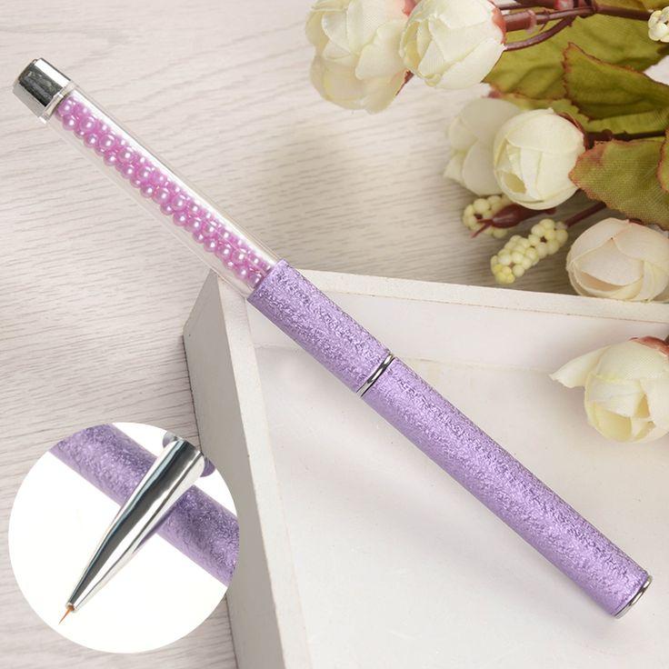 Purple Nail Art Liner Brush Paint Drawing Pen Bead Handle Manicure Nail Art Tool