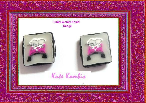 "VW Kute Kombis on Facebook ""Funky Wonky Kombi"" range. Polymer Clay Kombi Canes created by myself. Stud Earrings using Surgical Steel Studs"