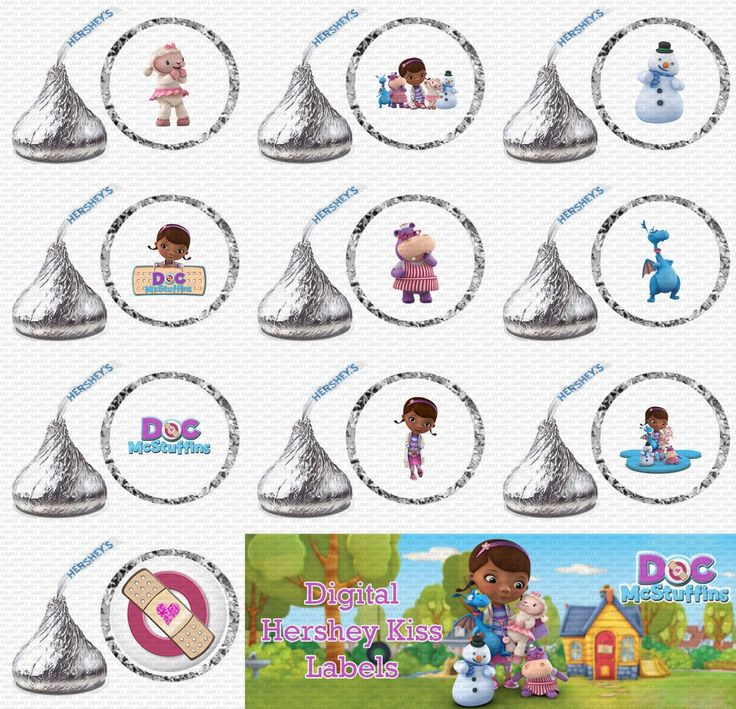 Hershey kiss printables birthday doc mcstuffins for Free hershey kisses labels template