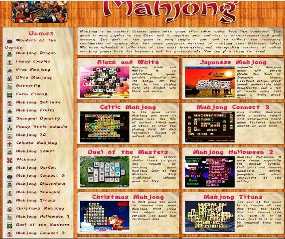 http://www.mahjonggames.us | Free Mahjong games online - A huge collection of the most famous Mahjong games. Mahjong - play absolutely for free without registration right now: Classic, Titans, Dimensions, Gardens, Butterfly mahjong, etc.!