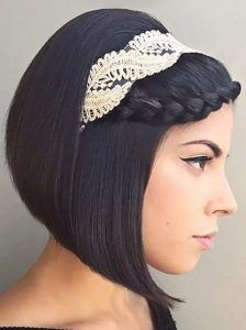 galliko kare xtenisma Hairstyles with braids for brides with short hair