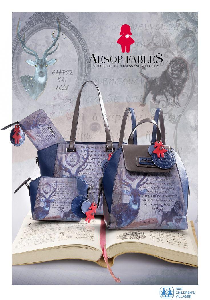 Aesop Fables Η DOCA για 2η χρονιά δημιούργησε μία συλλογή από τσάντες και πορτοφόλια αφιερωμένη στα Παιδικά Χωριά SOS. Η σειρά Aesop Fables είναι εμπνευσμένη από τους Μύθους του Αισώπου και θα υποστηρίξει τα μικρά παιδιά, αφού μέρος των εσόδων θα διατεθούν για την κάλυψη των καθημερινών αναγκών τους. Δείτε τη συλλογή στο: https://www.doca.gr/el/fw-15-16/aesop-fables/results,1-30.html
