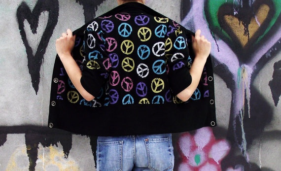 80'S Peace Sign Cardigan by MaryLuVintage on Etsy, $27.00