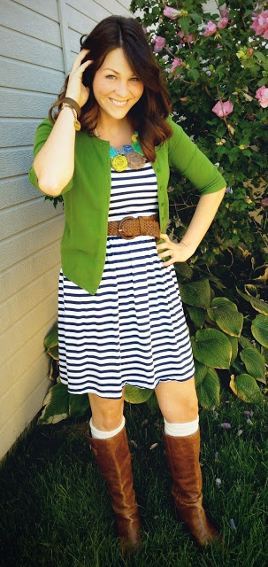 Navy stripe dress, cognac belt, boots and a green cardigan all adorned with a statement necklace :-) cute