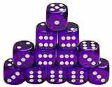 6-Sided Transparent Purple Dice with White Dots