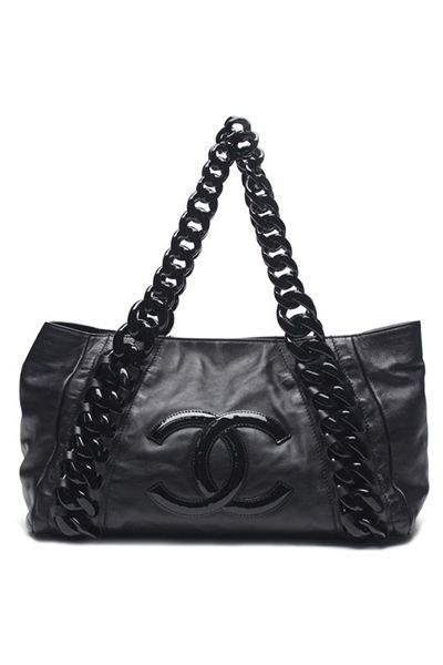 375f06c25d15 Chanel Black Calfskin Leather Rhodoid Modern Chain Bowling Bag - Photo 1