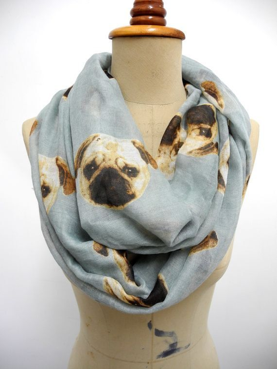 Pug Infinity scarf Dog Scarf Animal Printed Scarf Circle scarf, Scarves, Mother's Day Gift Ideas For Her Women