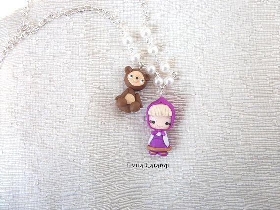 masha+and+the+bear+necklace+polymer+clay+por+ElviraCarangi+en+Etsy